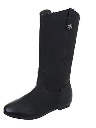82868106b03a1c Ital-Design Klassische Stiefel Damen-Schuhe Klassischer Stiefel Blockabsatz Warm  Gefütterte Reißverschluss Stiefel Schwarz
