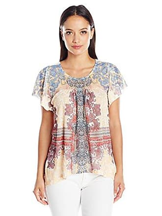 Oneworld Womens Short Sleeve Printed Knit Top with Lace Back, Paisley Concert/Purity, M