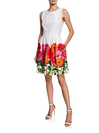 Iconic American Designer Daisy-Print Pleated Dress