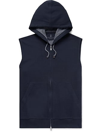 Brunello Cucinelli Cotton-blend Jersey Zip-up Hoodie - Navy