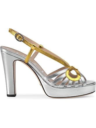 7a3e76ee53f Gucci Metallic leather sandal - Silver