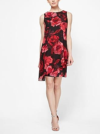 S.L. Fashions Womens Plus Size Sleeveless Print Asymmetric Chiffon Overlay Dress, red/Black/Floral, 18W