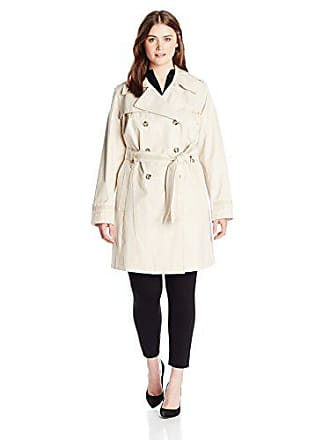 Via Spiga Womens Plus-Size Double-Breasted Trench Coat with Belt, Muslin, 3X