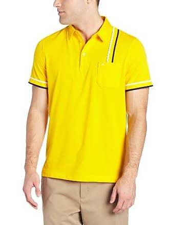 J.Lindeberg Mens Eddie Tech Mesh Jersey Golf Polo, Yellow Large