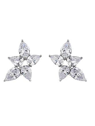 Fantasia Palladium Plated Pear Shape Cluster Earring