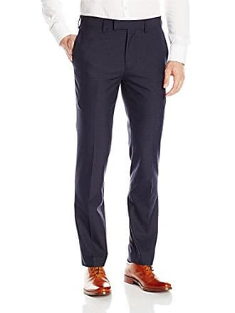 Louis Raphael Mens Modern Fit Flat Front Pattern Dress Pant, Navy Tattersol, 42W x 30L