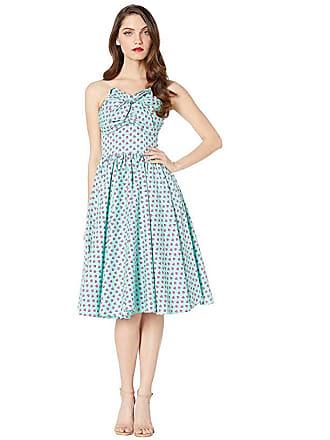 Unique Vintage 1950s Golightly Swing Dress (Blue/Strawberry Print) Womens Dress