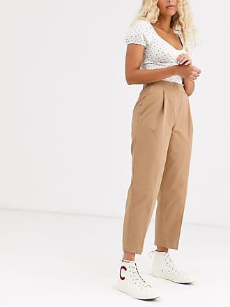 Monki Pantaloni con pinces beige scuro-Nero