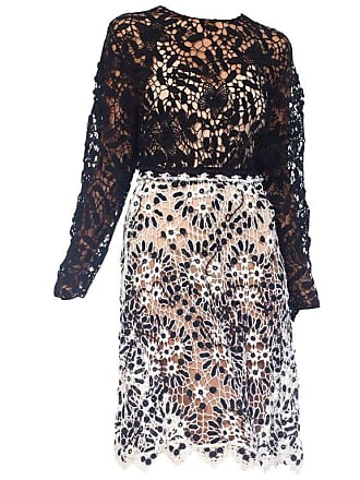 553179277ea 1stdibs 1980s Black And White Floral Hand Crocheted Long Sleeve Net Cotton  Dress