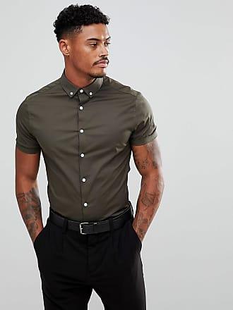 Asos Khakifärgad skinny skjorta med korta ärmar och button down-krage -  Khakifärgad 1 fe83cdf013526