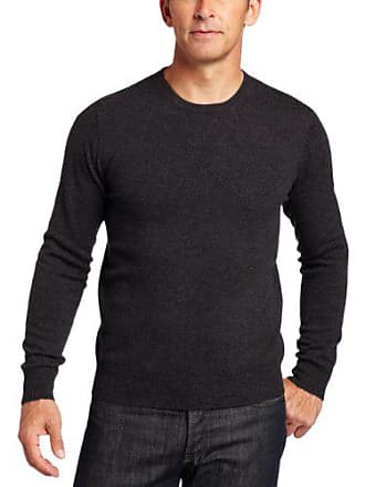Williams Cashmere Mens 100% Cashmere Long Sleeve Crew Neck Sweater, Charcoal, Small