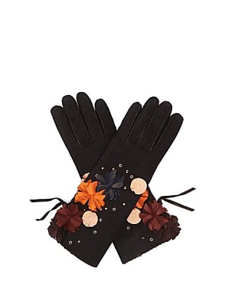 Agnelle Floral Appliqué Suede Gloves - Womens - Black