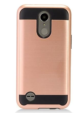 Mundaze Rose Gold Brushed Metal Double Layered Case For LG K10 2017 / LV5 Phone