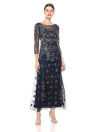 560a2461e2a Pisarro Nights Womens Long 3 4TH Sleeve Dress with Illusion Neck