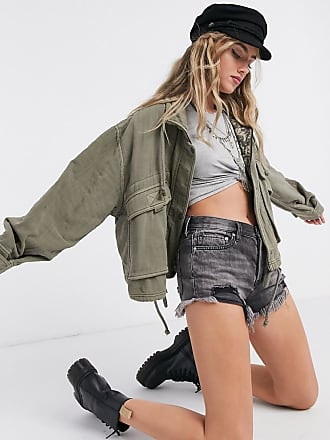 Free People Eyes On You pocket detail surplus jacket in khaki-Green