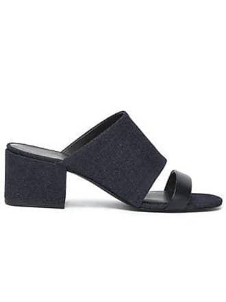 02433719f7e 3.1 Phillip Lim 3.1 Phillip Lim Woman Cube Leather-trimmed Denim Mules Dark  Denim Size