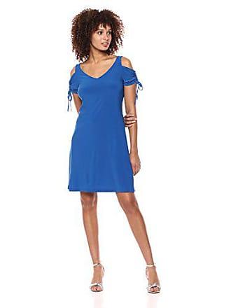 4524a210020e MSK Womens V-Neck Cold Shoulder Flutter Sleeve Ruched Dress, Sketch Royal, S