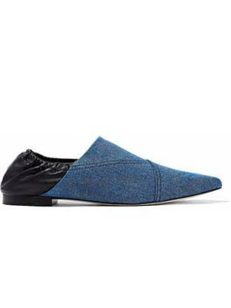 3.1 Phillip Lim 3.1 Phillip Lim Woman Babouche Denim And Leather Slippers Mid Denim Size 35.5