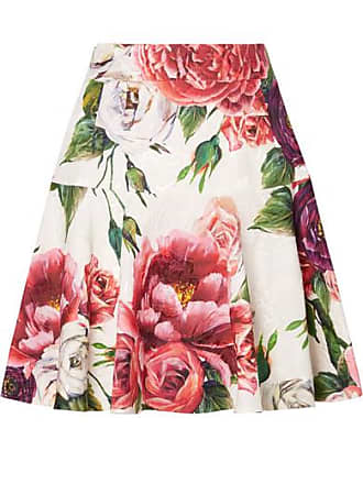 Dolce & Gabbana Floral-print Cotton-blend Jacquard Mini Skirt - Pink