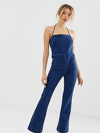 d04401d022 Asos Petite ASOS DESIGN Petite denim flared jumpsuit with strappy back in  bright blue