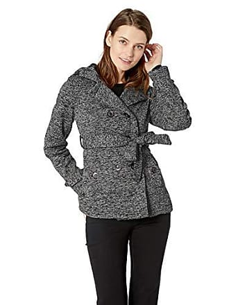 Yoki Womens Double Breast Fleece Jacket, Black Space DYE XL