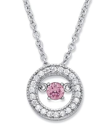 PalmBeach Jewelry 20 TCW CZ in Motion Birthstone and CZ Halo Pendant Necklace in Sterling Silver 18 - October- Simulated Tourmaline
