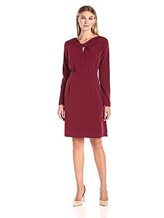 Lark & Ro Womens Long Sleeve Knot Front Dress, Bordeaux, Large