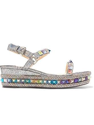 cdfb48b2393b Christian Louboutin Pyraclou 60 Spiked Metallic Cracked-leather Wedge  Sandals - Silver