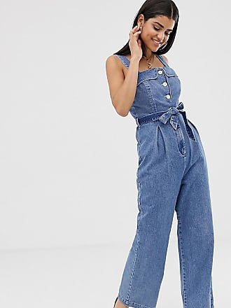 Asos Tall ASOS DESIGN Tall denim square neck button jumpsuit - Blue