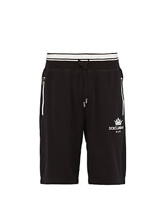 d05e9233ef67 Dolce   Gabbana Crown Logo Cotton Blend Jersey Track Shorts - Mens - Black