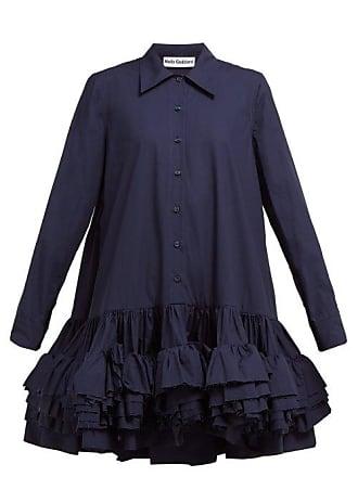 87b261e34df7f MOLLY GODDARD Annie Ruffled Hem Cotton Mini Shirtdress - Womens - Navy