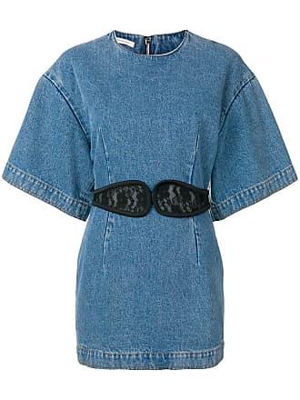 Christopher Kane Vestido jeans com detalhe de renda - Azul