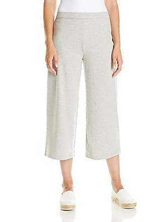 Joan Vass Womens Cropped Wide Leg Pant, Grey Heather, 3