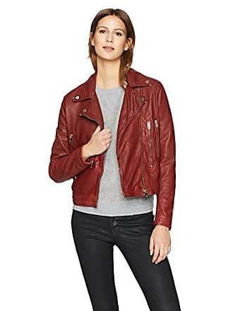 William Rast Womens Leather Washed Bikers Jacket, Bordeaux, L