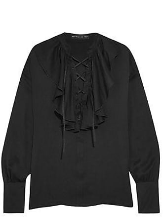 Etro Etro Woman Lace-up Ruffle-trimmed Silk-jacquard Blouse Black Size 46