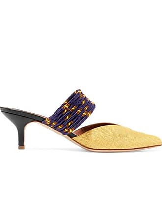 Malone Souliers Maisie 45 Cord-trimmed Raffia Mules - Gold