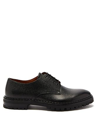 Lanvin Pebbled Leather Derby Shoes - Mens - Black