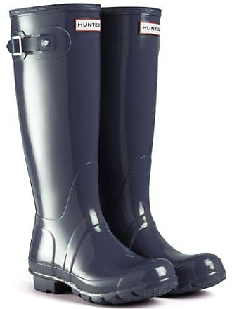 9e88c86d103494 Hunter Original Tall Gloss Damen Fest Gummistiefel Wellington Boots - Blau  - 38