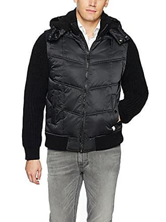 Calvin Klein Jeans Mens Mixed Media Hooded Puffer Jacket, Black, 2X-Large