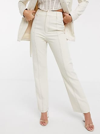 4th & Reckless suit trouser with contrast stiching in cream-White