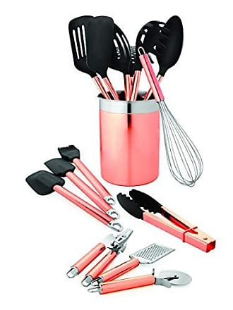 Old Dutch International Old Dutch 1512 15 Pc. Copper Set Kitchen Tools & Caddy, 4.75x4.75x6.125, Rose Gold, Black, Stainless Steel
