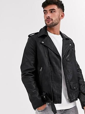 Topman leather biker jacket in black