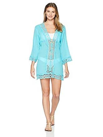La Blanca Womens Lace V-Neck Tunic Dress, Aqua, XL