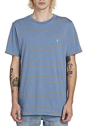 1d5d0fee Volcom Mens Tehas Striped Short Sleeve Tee, Blue Rinse, Large