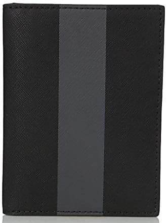 a85cad144e Jack Spade Mens Striped Barrow Leather Passport Wallet, Black/Magnet, One  Size