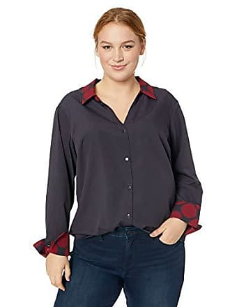 ba88c8ffddd128 Jones New York Womens Plus Size Tall Cuff Bow Blouse, Ink Mulled Wine  Chambray,
