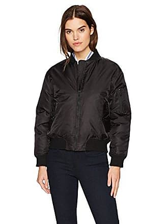 William Rast Womens Aviator Bomber Jacket, Black M