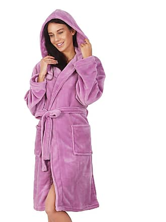 Decoking Bathrobe XS Short Women Men Unisex Hooded Dressing Gown Microfibre  Soft Snug Cosy Fleece Lilac 81d5a1423