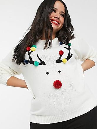 Brave Soul Plus Brave Soul - Plus - Kersttrui met rendier en pompons-Crème