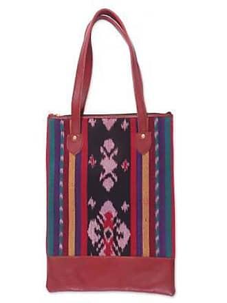 Novica Leather accent cotton shoulder bag, Jepara Weave
